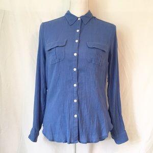 Boden Cotton Gauze Long Sleeve Button Down Blue 8